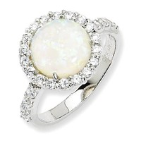 Cheryl M Sterling Silver Round White Created Opal & CZ Halo Ring