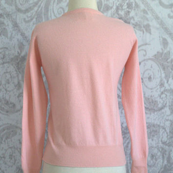 Womens Pink Cashmere Sweater Light Pink Sweater 1960s Sweater Pale Pink Cashmere Sweater Cashmere by Pringle Womens Size Medium