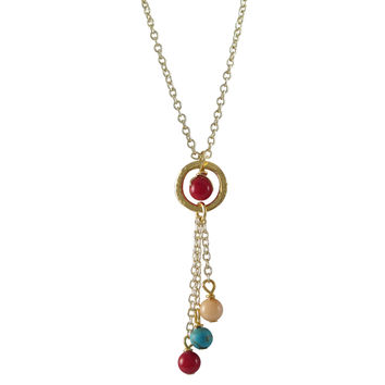 Genuine Red Coral, Turquoise, And Peach 4mm Balls And Coral 4mm Ball In Ring, Lariat Style Necklace, Gold Plated Brass Chain, 16