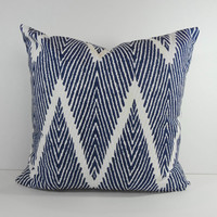 Blue Chevron Decorative Pillow Cover, Throw Pillow Cover, Zigzag Cushion, 20 x 20, 18 x 18