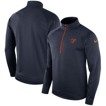 Men's Chicago Bears Nike Navy Lightweight Half-Zip Therma Pullover Jacket