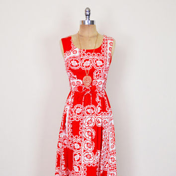 Vintage 70s Red & White Tropical Floral Dress Hawaii Floral Print Maxi Dress Hawaii Dress Lace Up Corset Dress 70s Dress Hippie Dress XS