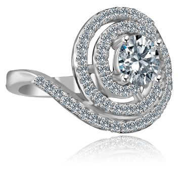 1/2 CT. Round stylish swirl floating halo Sterling Silver Ring Simulated Diamond - Diamond Veneer 635R3237