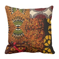 Mixed African Graphic Print Throw Pillow