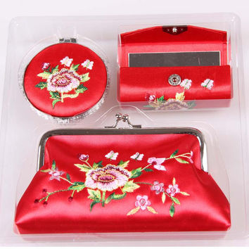 3Ps/Set Silk Hand Embroidery Cosmetic Bag with Cosmetic Mirror/Lipstick box