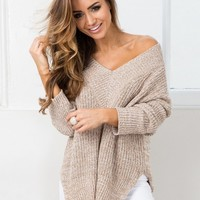 V Neck Long Sleeve Solid Slit Knit Sweater - NOVASHE.com