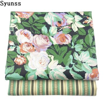 Syunss Green Floral Cotton Fabric Diy Quilting Patchwork Sewing Scrapbooking Home Textile Decoration Bedding Clothing Tissus
