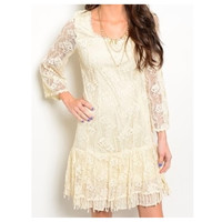 """Beautiful Cream and Lace """"Definite Yes"""" Dress"""