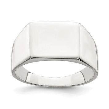 925 Sterling Silver 11x9mm Solid Back Signet Ring
