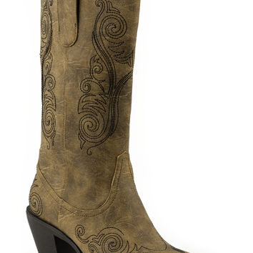 Roper Ladies American Flags Boots 12 Boot W Brown Embroidery Design