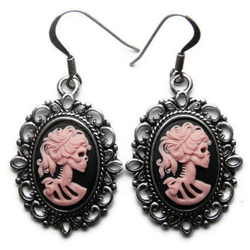 Pretty Pink Skeleton Earrings, Skull Cameos, Gothic Earrings, Pink Lady, Day Of The Dead, Día de los Muertos