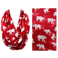 Women's Fashion Accessories. 36x20 RED Elephant Infinity Scarf.