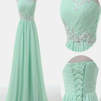 A Line Sweetheart Neck Floor Length Prom Dress, Long Formal / Bridesmaid Dress