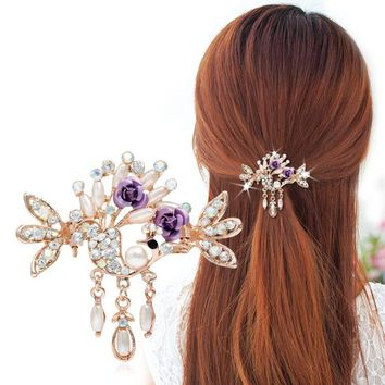 Luxury plating Golden hollow Hair claw Clips Flowers Crystal Crab claw hairpins Pendant with claw clip Barrette Headwear