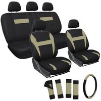OxGord 17pc Set Flat Cloth Mesh / Tan & Black Auto Seat Covers Set - Airbag Compatible - Front Low Back Buckets - 50/50 or 60/40 Rear Split Bench - 5 Head Rests - Universal Fit for Car, Truck, Suv, or Van - FREE Steering Wheel Cover