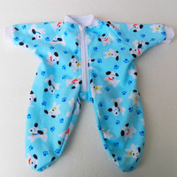 Bitty Baby Clothes Pajamas Boy Blue Puppy Dog Paw print Zip Up Flannel Pajamas Pjs Sleeper