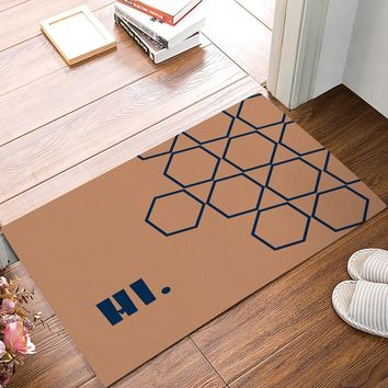 Hi Theme - Naby Blue Hexagon Door Mats Kitchen Floor Bath Entrance Rug Mat Absorbent Indoor Bathroom Decor Doormats Rubber