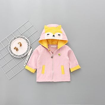 Sweet Girls Fox Coats Autumn Kids Hooded Coats New Children Novelty Thin Clothes Free Shipping