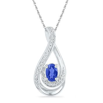 Sterling Silver Women's Oval Lab-Created Blue Sapphire Solitaire Teardrop Pendant 1-2 Cttw - FREE Shipping (US/CAN)