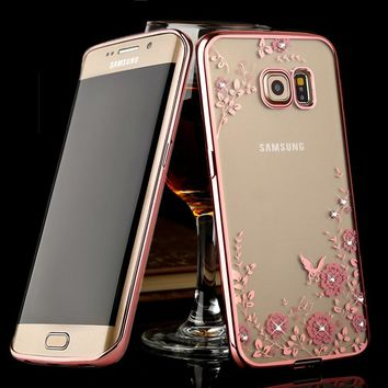 Fashion Secret Garden Flower Bling Diamond Soft Cover Phone Case for Samsung Galaxy S3 S4 S5 S6 Edge Plus S7 S7 Edge S8 S8 Plus