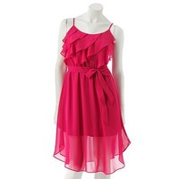 LC Lauren Conrad Ruffle Chiffon Dress