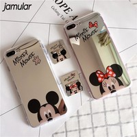 JAMULAR Mirror Mickey Minnie Cartoon Case for iPhone X 8 7 Plus Ring Stand Clear Phone Case For iPhone 6 6S Plus 5S SE Cases