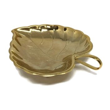 Multi-Purpose Gold Dish, Ring Dish, Soap Dish, Trinket Dish, Butter Dish, Jewelry Dish or Catch-All Dish, Gold Electroplate Leaf by Eberle