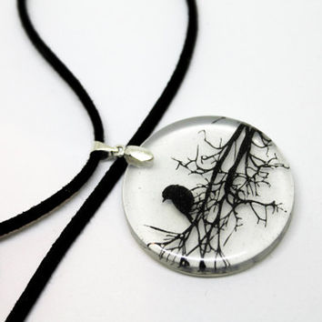 Raven necklace, gothic necklace, crow pendant, crow necklace, goth crow, crow art, goth necklace