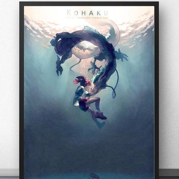 Chihiro & Haku  Kohaku Hayao Miyazaki Spirited Away Wall Art Paint Decor Canvas Prints Canvas Art Poster Oil Paintings No Frame