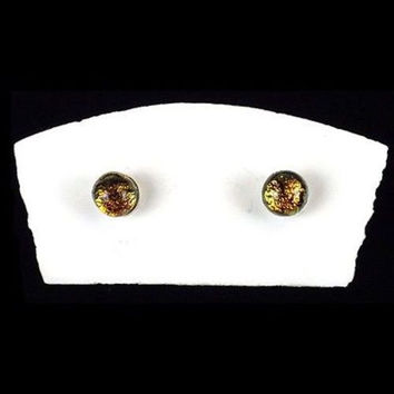 Handmade Small Dichroic Glass Studs in Amber - Tili Glass