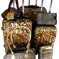 Luggage 7 Pc Travel Set Leopard Spinner Wheels Messenger Gadget Pet Carrier
