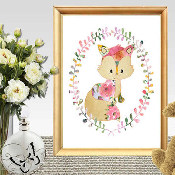 Baby fox print Floral Watercolor Nursery wreath art Fox printable Baby animal wall art Little girls bedroom decor DOWNLOAD 11x14, 5x7, 8x10