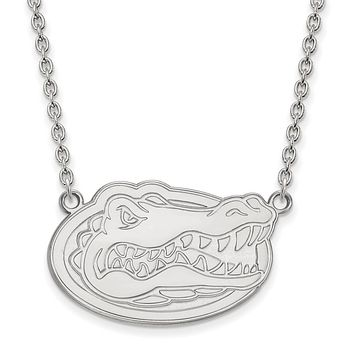 NCAA Sterling Silver U of Florida Large Gator Disc Pendant Necklace