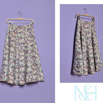 Vintage 1960s Floral NEIMAN MARCUS A-Line Skirt with Button Closure