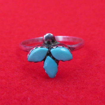 Zuni Turquoise Sterling Silver Ring Vintage Sleeping Beauty Multistone Ring Size 6