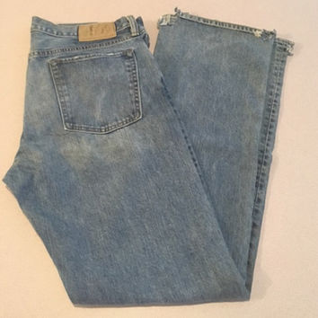 Vintage Men's Gap 1969 Jeans, Low Rise Boot Fit, 34 x 34 100% Cotton Lighter Wash, Natural Wear & Fading, Frayed Hems Industrial Look
