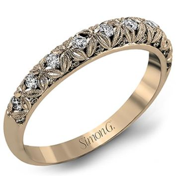 Simon G. Diamond Wedding Band Featuring Intricate Filigree Flowers