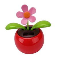 Red Cute Flip Flap Swing Solar Flower For Car(Different patterns, random delivery)