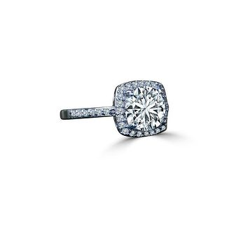 0.50 CT. Intensely Radiant Cushion Square Center Diamond Veneer Cubic Zirconia with Halo Settings Set in Sterling Silver Ring. 635R203