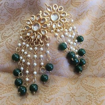 Kundan Earrings Set - Green