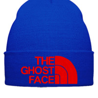 THE GHOST FACE EMBROIDERY HAT - Beanie Cuffed Knit Cap
