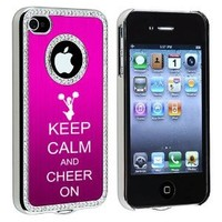Apple iPhone 4 4S 4G Hot Pink S423 Rhinestone Crystal Bling Aluminum Plated Hard Case Cover Keep Calm and Cheer On