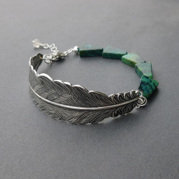 silver feather bracelet cuff turquoise triangle gemstone beads and sterling silver chain