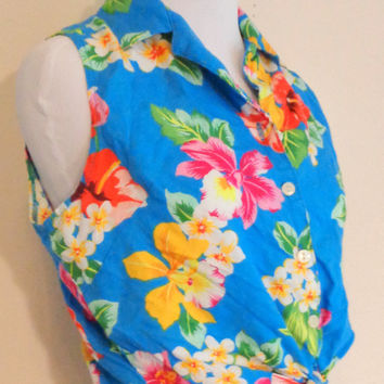 80's vintage blue tropical pin up crop top size M