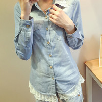Long Sleeve Lace Stitching Denim Shirt