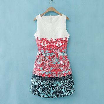 Red Vintage Scroll Print Crew Neck Sleeveless Bubble Dress