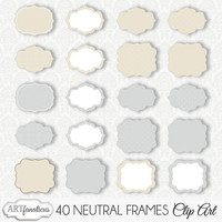 "Clip art frames ""40 NEUTRAL FRAMES CLIPART"" 40 frames/labels, overlays, belly belt, photographers, albums, wedding invitation & scrapbooking"