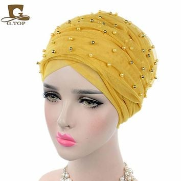 2017 new fashion  Luxury women gold beaded mesh Turban Headband  extra Long mesh Turban Head Wraps Hijab Head Scarf Turbante