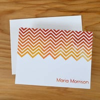 Personalized Stationery. Personalized notecards. Contemporary watercolor ombré chevron design. Red, orange and yellow colors.