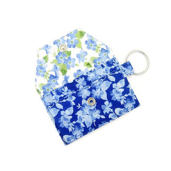 Mini key chain wallet/ simple ID Key chain pouch / keychain coin purse / Business card holder / Deep blue floral pattern
